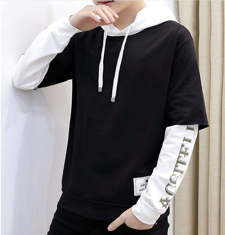 Mens Two Tone Double Layer Hoodie