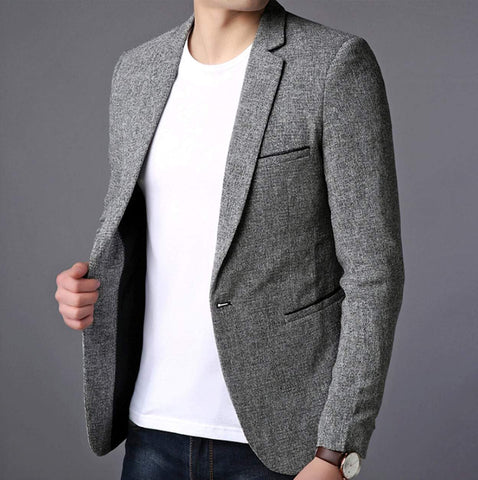 Mens Casual Single Button Gray Blazer