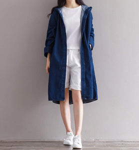 Womens Denim Trench Coat with Hood