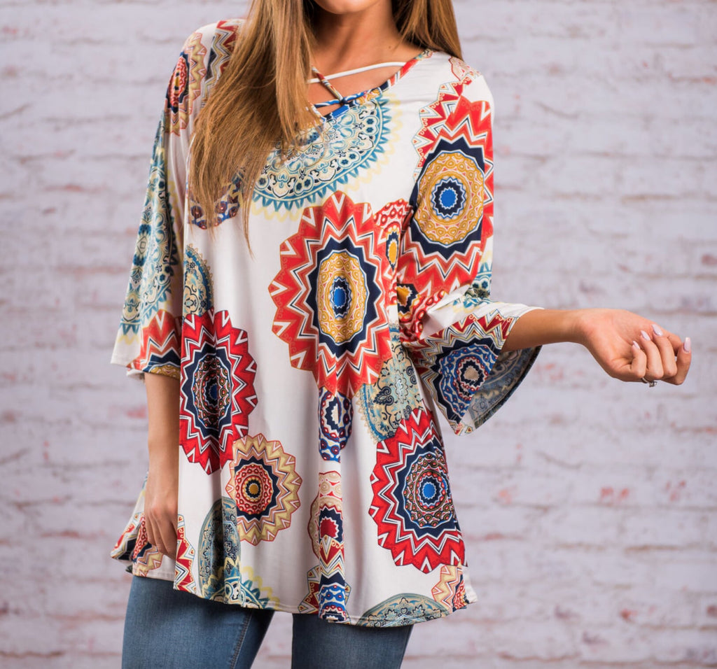 Womens Print V Neck Top with Criss Cross Details