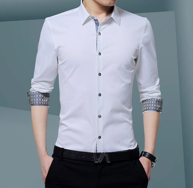 Mens Button Down Shirt with Inner Details