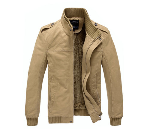 Mens Stand Collar Jacket With Inner Fur