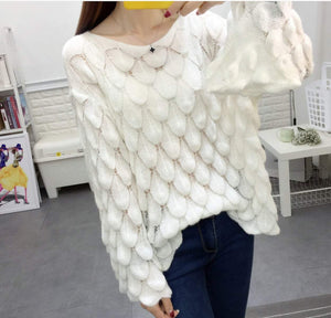 Womens Knit Top with Bell Sleeves