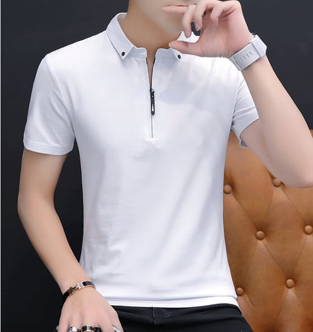 Mens Short Sleeve Polo Shirt with Zipper