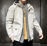 mens beige polyester vegan friendly hooded jacket - AmtifyDirect