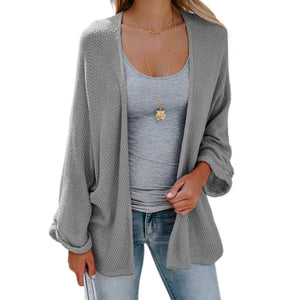 womens gray acrylic vegan friendly street style batwing cardigan
