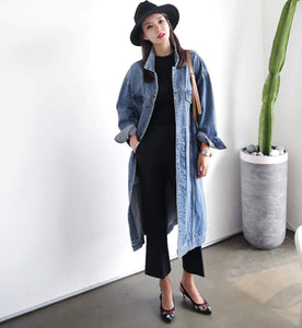 womens blue denim loose fit coat - AmtifyDirect