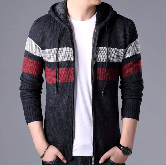 mens black polyester cotton hooded zip up cardigan sweater - AmtifyDirect
