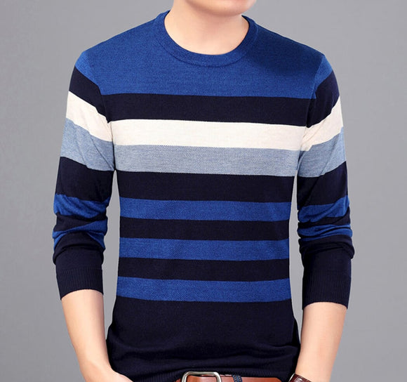 Mens Blue Wool Blend Striped Pullover Round Neck Sweater - AmtifyDirect