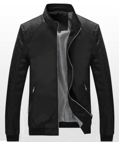 Mens Bomber Biker Jacket with Faux Leather Details