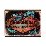 Dragon Boat Embossed Tin Sign with Blue Dragon