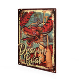 Dragon Boat Embossed Tin Sign with Red Dragon