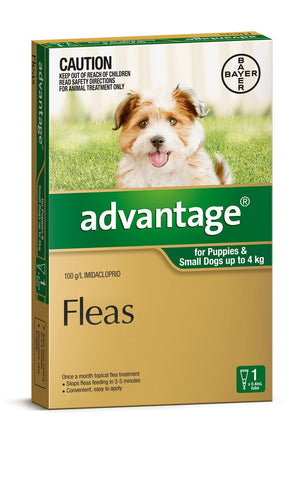 Advantage for Puppies & Small Dogs up to 4kg Green SINGLE