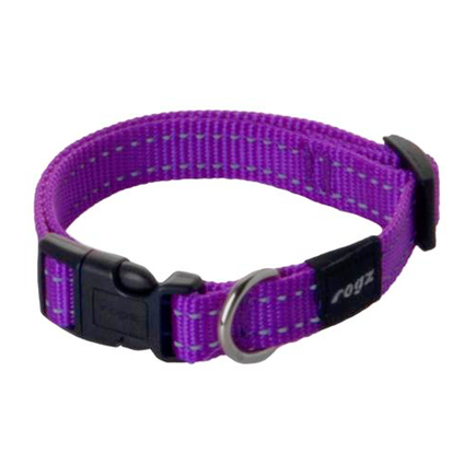 Rogz Utility Reflective Stitching Collar Purple