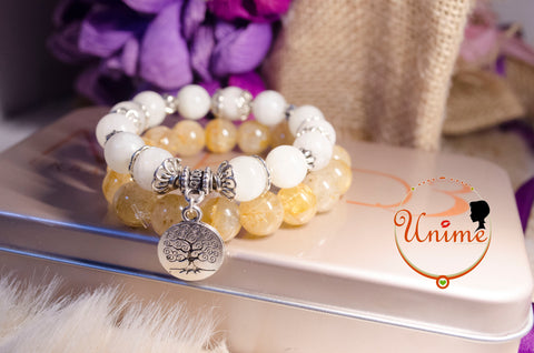 Unime Moonstone and Golden Hair Rutilated Quartz bracelet