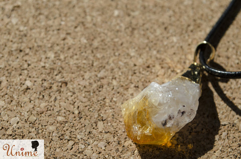 Unime Citrine Gemstone Pendant Necklace