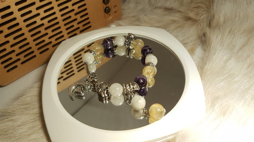 Citrine, Amethyst and Moonstone bracelet