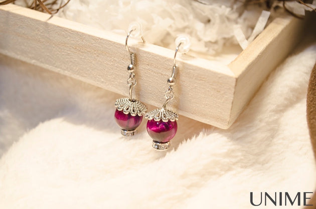 Pink Tiger's Eye Earrings - Unime Crystal Jewellery Shop - Semi-precious gemstone bracelets and necklaces - offer lucky charms