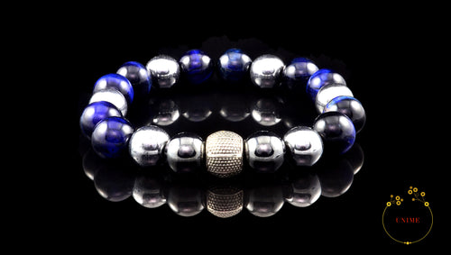 Ephiphany – Blue Eye Tiger and Silver Hematite Bracelet