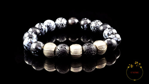 Xaga – Purifying Snowflake Obsidian and Lava Bracelet