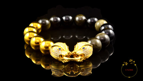 Randolph – Protective Gold Sheen Obsidian and Gold Hematite Bracelet