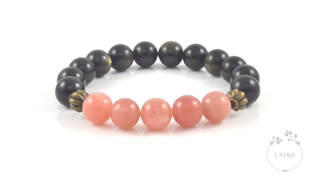 Ravi – Dazzling Sunstone and Gold Sheen Obsidian Bracelet