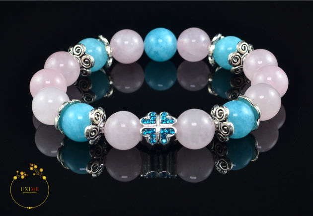 Ai | Loving Rose quartz and Blue Quartz Bracelet