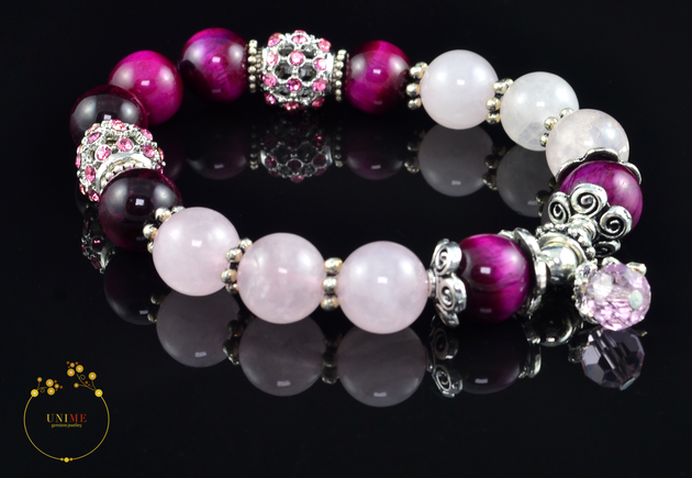 Suerte - Lucky Pink Eye Tiger and Rose Quartz Bracelet