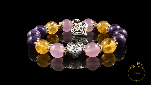 Chenggong – Successful Citrine, Amethyst and Rose Qaurtz Bracelet