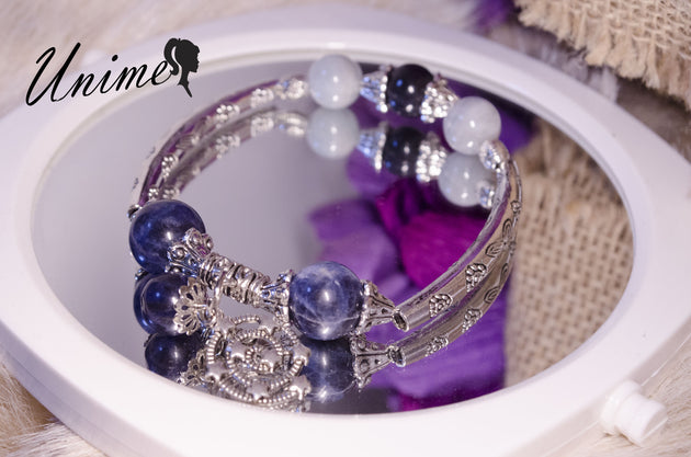 Aquamarine and Blue Sodalite Silver bracelet