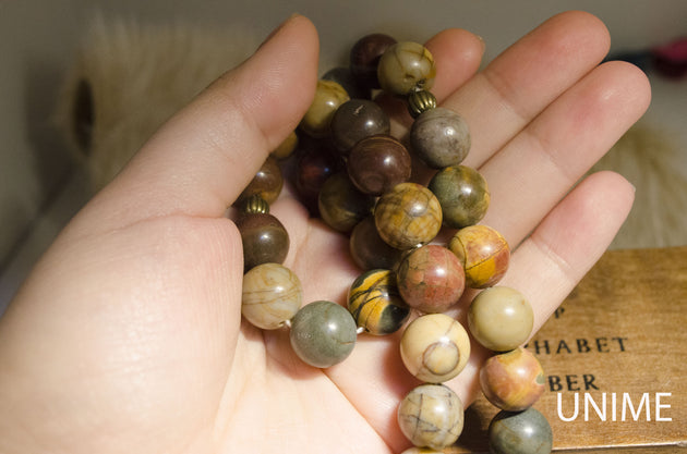 33 Tasbih prayer Picasso Jasper beads