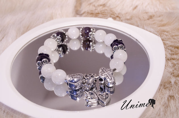Moonstone and Amethyst Silver bracelet