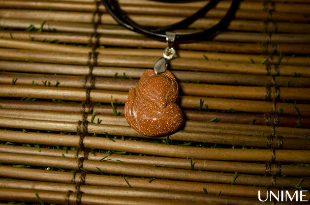 Brown Gold Stone Fox Charm Pendant