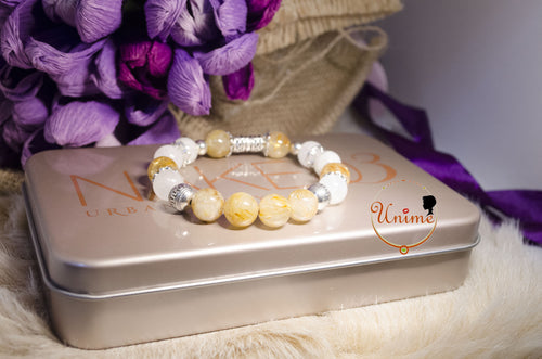 Gold Rutilated and Moonstone bracelet