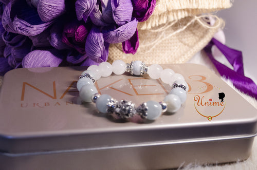 Aquamarine and White Moonstone bracelet