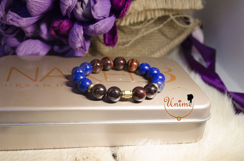 Garnet,Lapis and Red Tiger Eye bracelet