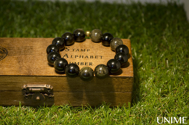 Unisex Black Gold Obsidian Bracelet - Unime Crystal Jewellery Shop - Semi-precious gemstone bracelets and necklaces - offer lucky charms