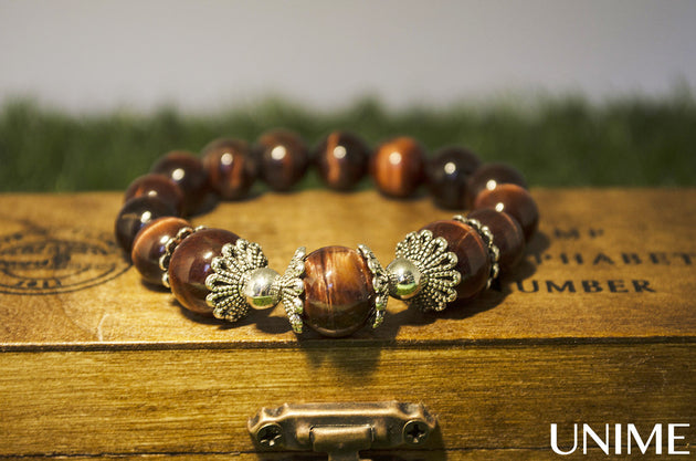 Red Tiger Eye Floral Bracelet