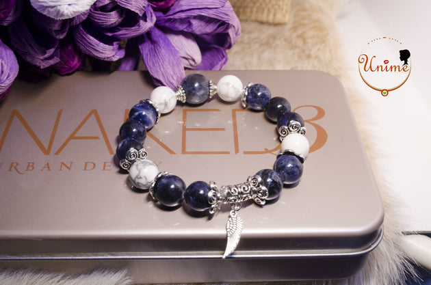Blue Sodalite and White Howlite bracelet