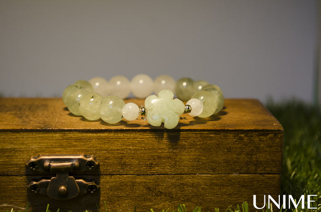 Fresh Green Flower Bracelet with Prehnite,Rose Quartz and Jade - Unime Crystal Jewellery Shop - Semi-precious gemstone bracelets and necklaces - offer lucky charms