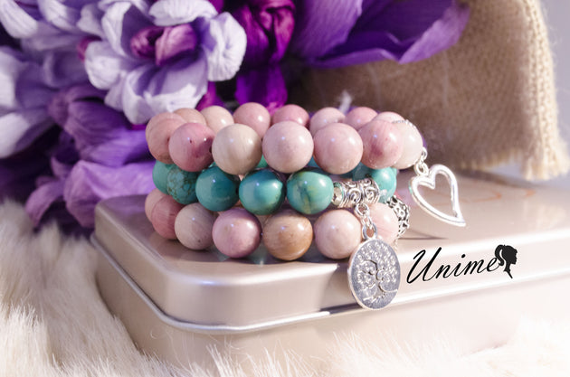 Bohomian Blue Turquoise and Rhodochrosite bracelet