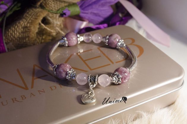 Pandora style Tourmaline and Rose Quartz bracelet