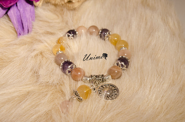 Sunstone,Amethyst and Citrine bracelet