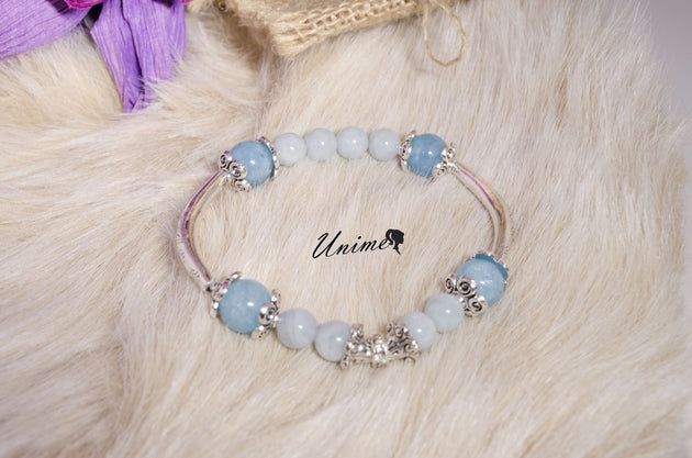 Pandora style Aquamarine and Blue Quartz bracelet