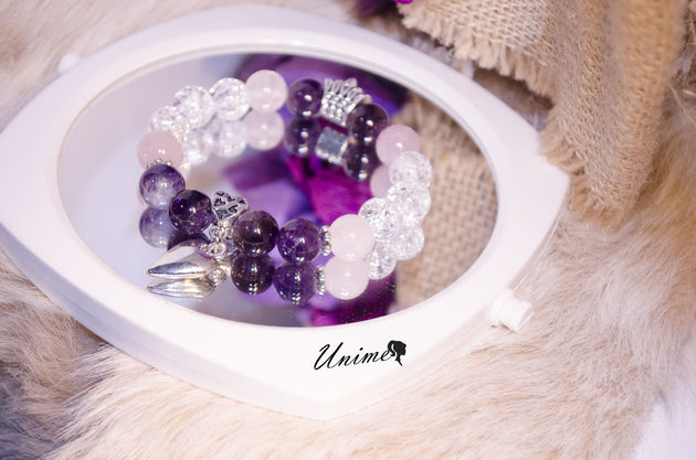 Amethyst,Rose Quartz and Rock Quartz bracelet
