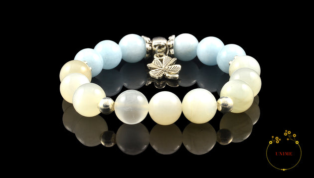 Lengjing – Calm aquamarine and Moonstone Bracelet