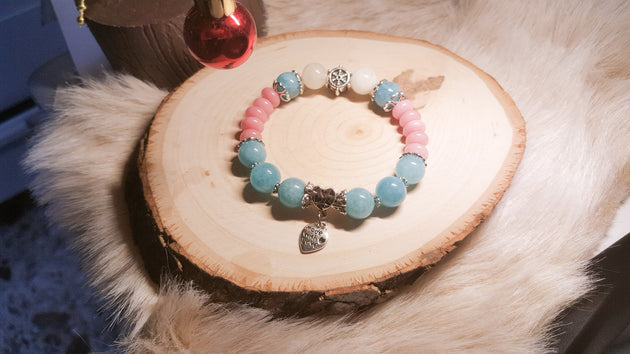 Blue Quartz and Rhodochrosite bracelet