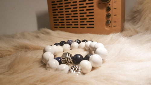 Couple White Howlite and Blue Sodalite bracelet