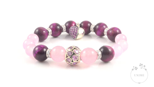 Suerte in 925 Sterling – Lucky Pink Eye Tiger and Rose Quartz Bracelet