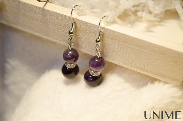 Amethyt Earrings - Unime Crystal Jewellery Shop - Semi-precious gemstone bracelets and necklaces - offer lucky charms